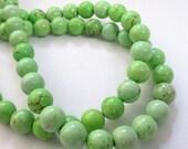 "Apple Green Beads - Howlite Round Bead - Smooth Gemstone Round Ball - Brown Matrix - 8mm -16"" Strand - DIY Jewelry Beading Supplies"