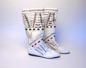 L.J. Simone of New York White Leather Bohemian Cut Out Boots, Size 8 B