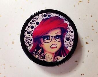 Tattooed Ariel mermaid 1 oz black tin pill box