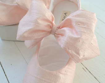 Ballet Flats Mary Jane, Flower Girl Shoes,Christening Shoes, CLARA With Large Bow by Bobka Baby