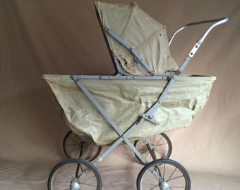 strangely steampunk vintage 1940's deconstructed baby doll buggy carriage / stroller / theatre prop / decor toy