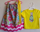 Bright Bold Print with Pink Chevron Brother Sister Set