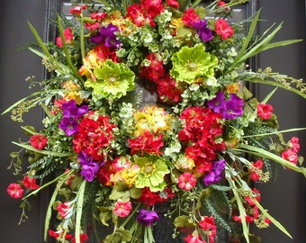 Spring Wreath, Floral Door Wreath, Wreaths for Spring, Hydrangea and Poppy Wreath, Red Yellow Purple Lime