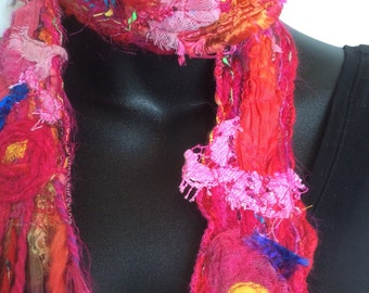 PATCHWORK SCARF, TEXTURED red scarf , Wearable Art Scarf