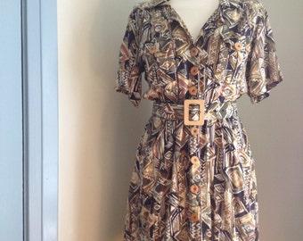 Fun 70's Tribal Print Day Dress Original wood buttons & belt size S/M SALE