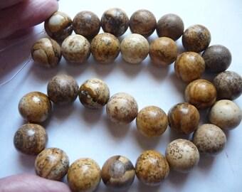 Beads, Designer Quality, Picture Jasper, Gemstone, Natural, 14mm, Round, B Grade, Mohs hardness 6 to 7, Pkg Of 7