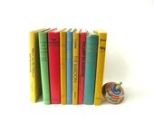 Vintage Colorful Books, Hardback, Instant Collection, Props, Home Decor