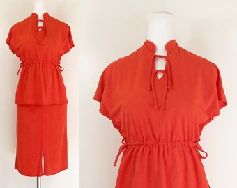 70s dress 2-piece ultrasuede outfit / orange red 70s tunic top and skirt outfit / 70s ultra suede skirt top / Pretty Talk