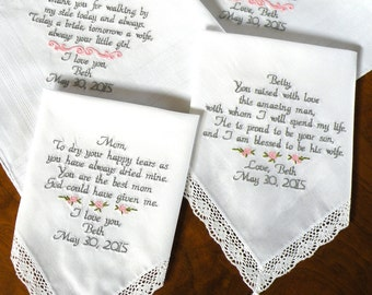 Embroidered Wedding Handkerchiefs Gifts For Mon and Dad Parents of the Bride Groom Set of Four Handkerchief Wedding Gifts Canyon Embroidery