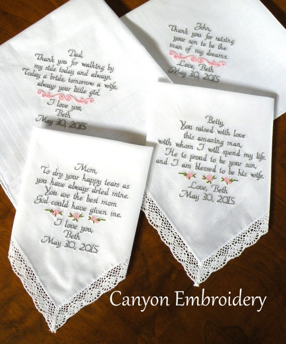 Wedding Gifts For Parents Handkerchief : Embroidered Wedding Handkerchiefs Gifts For Mon and Dad Parents of the ...