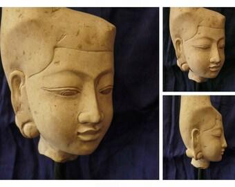 Bali Girl Head Stone Sculpture.
