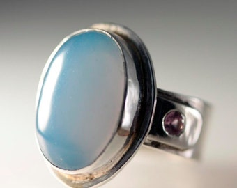 Blue Chalcedony with Alexandrite Sterling Silver Ring