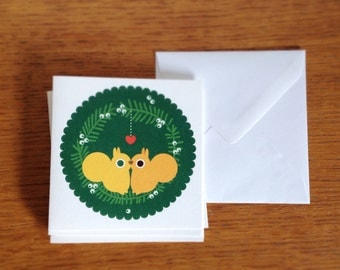 squirrel christmas cards / pack of 5 with envelopes