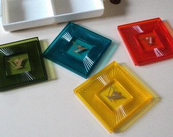 Vintage Kitsch Bright Plastic Coasters