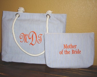 Personalized Mother of the Bride Tote Bag and Cosmetic Bag Gift Set also for Bridesmaids
