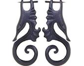 Post Earrings - Organic Wood Post Earrings, Tribalstyle, Fake Gauges, Seahorse, Hippocampus Swirls Wood -  1
