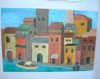 "Vintage Seaside Village Painting-Venice/South America-24"" x 36"""