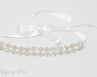 HPH4DR  Bridal Hairpiece Wedding Accessories. Wedding Headband Bridal Ribbon Rhinestone Headband - Double Row of Rhinestone Ribbon Headband