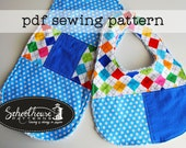 Bib and Burp cloth sewing pattern combo - patchwork -  PDF INSTANT DOWNLOAD