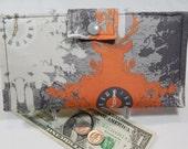 Deer Wallet, Bifold Clutch Wallet, Womens Wallet, Clock Wallet, Orange, Grey,  TIme is Deer, Gift Under 50