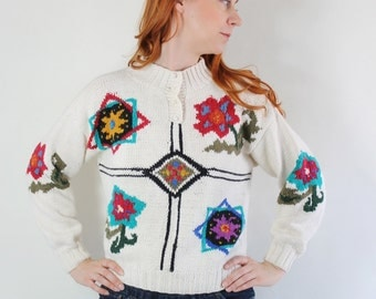 SALE - Vintage 80s Cream Tribal Design Cotton Sweater