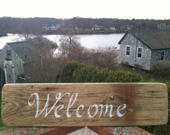Reclaimed Large Rustic Driftwood Welcome Sign Beach Cottage Home Wall Decor, Home And Living