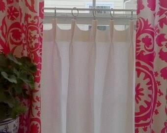Linen Cafe Curtain Scalloped French or Pinch Pleat