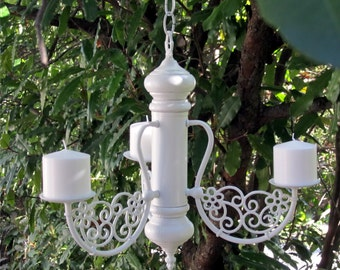 HANGING CHANDELIER CANDLE/Flower Pot Holder - Oak 3 arm  Satin White with Metal Scroll Work, Indoor or Outdoor