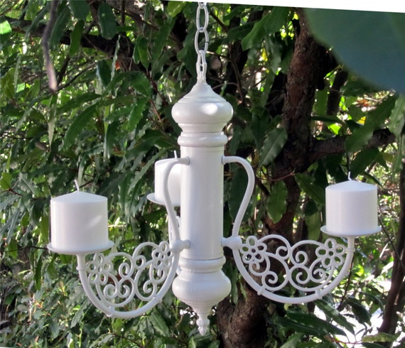 Hanging Chandelier Candle Flower Pot Holder Oak 3 By