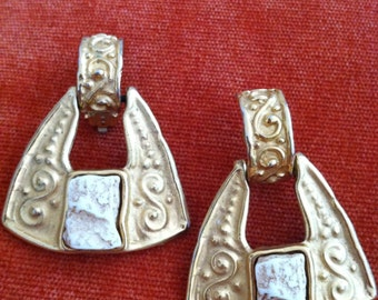 Ivory Stone Etruscan Revival Vintage GIVENCHY Clip Earrings