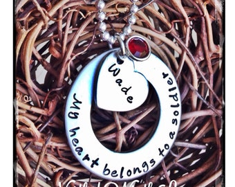 Personalized Hand Stamped My Heart Belongs to a Soldier necklace