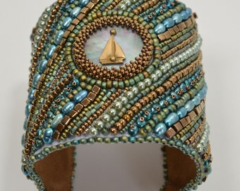 Aqua Teal and Bronze Bracelet Bead Embroidered Wide Cuff Mother of Pearl Sail Boat