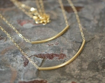 Double Strand,14K Gold Filled Necklace, Curved Bars on a Cable Chains