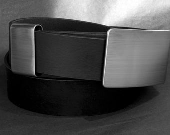"Men's Accessories Silver Brushed Stainless Steel Belt Buckle & Keeper Hypoalergenic Canadian Men's Signed Original fits 1.5""  Leather Belt"