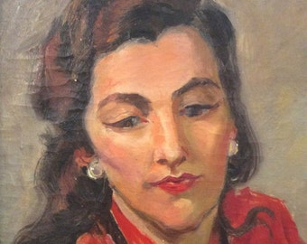 "Vintage Oil Painting ""Barbara"" Dark Haired Beauty"