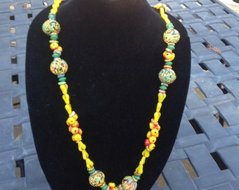 Long African Trade bead Necklace