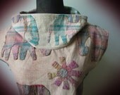 Upcycled Vintage Elephant Tapestry Blouse, Sustainable Repurposed Clothing, Cowl Neck Tops, Cowlneck Shirt, Gifts for Elephant Lovers