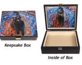 Large Keepsake/Memory Box, Black Cat Art, Billys Jump, Wooden Box, Cat Artwork by Deborah Julian