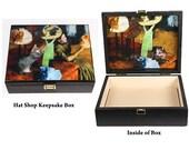 Edgar Degas Cat Keepsake Box, Large Wooden, Gray Tabby Cat, Memory Box, Cat Memorial, Cat Artwork, Deborah Julian, Signed Art