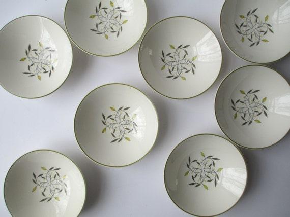 Vintage Homer Laughlin Rhythm Cascade Yellow Gray Dessert Bowls Set of Eight