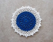 Royal Blue Decor Crochet Lace Doily, White Edging, New Tabletop Accent