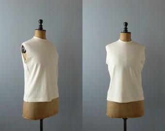 Vintage vest. 70s cream wool knit vest. waistcoat