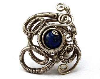 Gothic Ring, Lapis Lazuli Ring, Wire Wrapped Ring, Gemstone Ring, Steampunk Ring, Blue Stone Ring, Navy Ring, Unique Ring, Industrial Ring