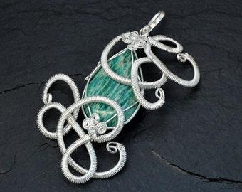 Teal Silver Pendant, Wire Wrap Pendant, Silver Pendant, Boho Pendant, Stone Necklace, Bridesmaid Necklace, Weddings Jewelry