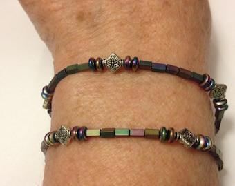 Hematite and Silver Beaded Bracelet