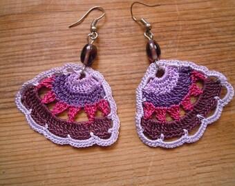 crochet earrings, multicolored