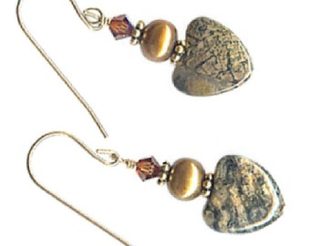 Crazy lace agate 12mm heart earrings sterling silver goldfilled or clip