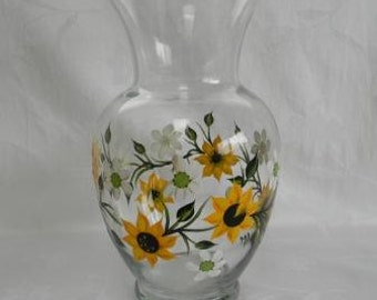 Vase, hand painted vase,vase wih sunflowers,large flower vase, painted sunflowers, painted daisies