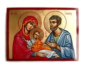 The Holy Family handpainted icon, Wedding Gift, Baptism Gift, Mary Joseph an Christ original icon,  6 x 8 inches - MADE TO ORDER