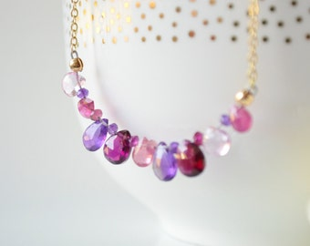 Pink, Purple, & Gold Briolette Bar Necklace - Layering Necklace - Gemstone Jewelry
